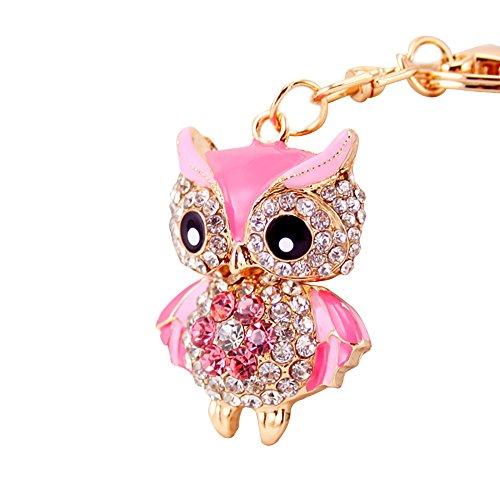 preliked Cute Owl Shiny Rhinestone Keychain Key Ring Wallet Handbag Phone Bag Car Pendant ()