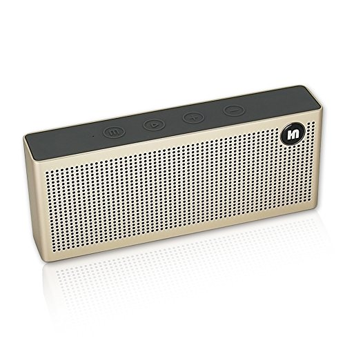 HUINING Wireless Portable Bluetooth Speaker,Built-In Dual Driver Speakerphone with Louder Volume and Enhanced Bass, Handsfree Calling, Bluetooth 4.0, Pairs with All Bluetooth Devices(Champagne gold) by HUINING