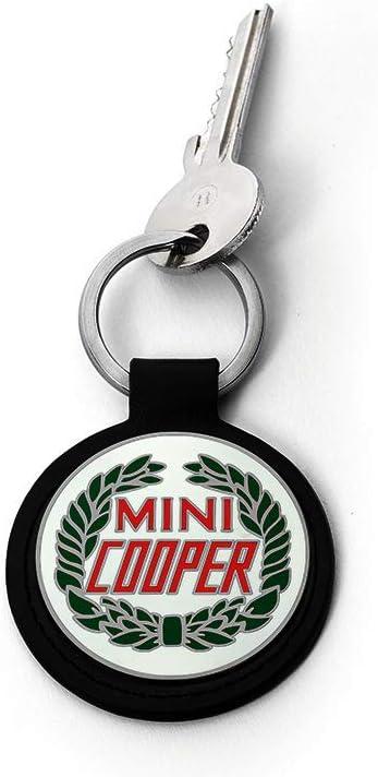 Mini Portachiavi con Logo Vintage in Pelle di Vacchetta