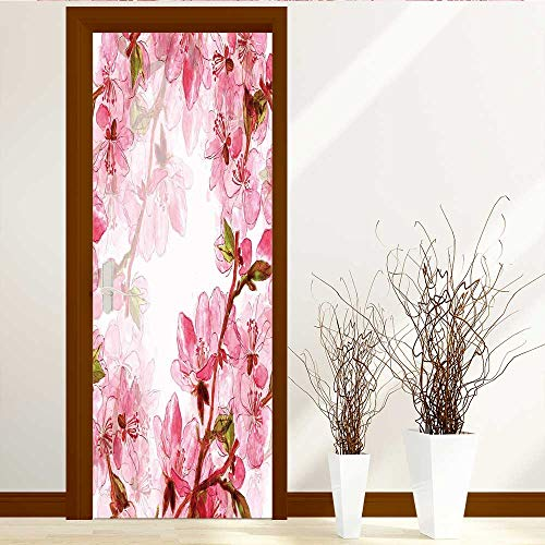 Window Delicate Decorative (Privacy Window Film Decorative Window Film Delicate Japanese Cherry Blossoms Digital and Watercolor Work for Wedding Door Decals for Home Room Decoration W23 x H70)