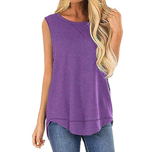 (Emimarol Women Blouse Summer Sleeveless Vest Shirt Casual Solid Tunic Tops Blouse Purple)