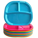 Set of 12 | 3 Compartment Divided Kids Tray in 4 Assorted Colors