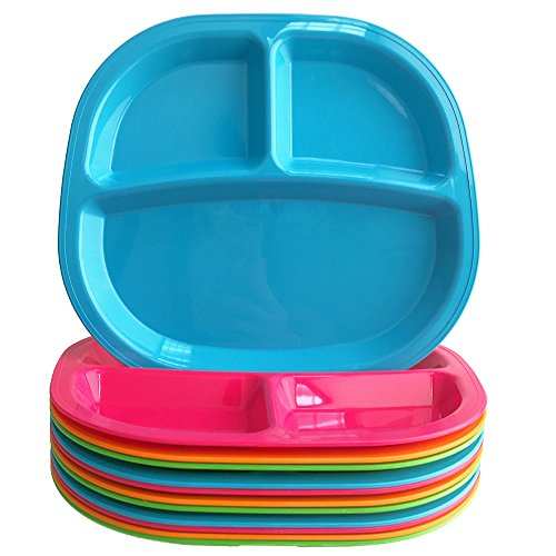 3-Compartment Divided Plastic Kids Tray | set of 12 in 4 Assorted Colors by US Acrylic