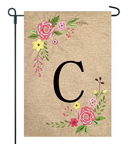 JEC Home Goods Floral Monogram Garden Flag - Summer or Sprin