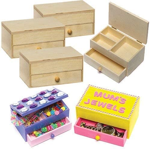 Keepsakes and More Gifts Pack of 2 Baker Ross Wooden jewelry Boxes Craft Project /— Ideal for Kids Arts and Crafts