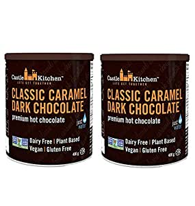 Castle Kitchen Classic Caramel Dark Chocolate - Dairy-Free, Vegan Premium Hot Chocolate Mix - Just Add Water - 14 oz (Pack of 2)
