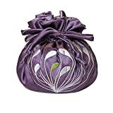 Drawstring Jewelry Pouch - Embroidered Chrysanthemum (Dusk)