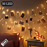 OASMU Dimmable 50 LED Photo Clips String Lights Holder with Remote & Timer Function,Dual Powered Choice 8 Modes Fairy Lights for Hanging Photos Pictures Cards Memos, Warm White Decoration Light for