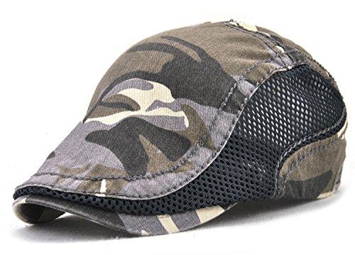YCHY Cotton Flat Cap Duckbill Hat Newsboy Ivy Irish Cabbie Scally Cap,Camouflage Color (Dark Grey-With Side Mesh)