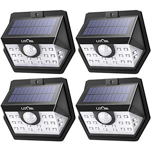 LITOM Basics Solar Lights Outdoor, 20 LED Wireless Motion Sensor Lights(White Light), 270°Wide Angle, IP65 Waterproof, Easy-to-install Security Lights for Front Door, Yard, Garage, Deck, Porch-4 Pack