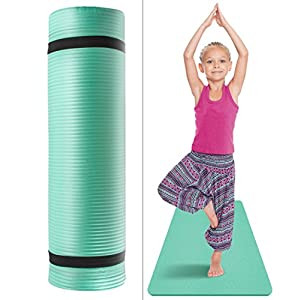 Sivan Health and Fitness Kids Yoga Mat with Carry Strap for Exercise, Yoga, Pilates, Playtime, Great for Kid Athletes, Dancers, Gymnasts, etc, 1/2-InchExtra Thick, NBR Comfort Foam (Teal)