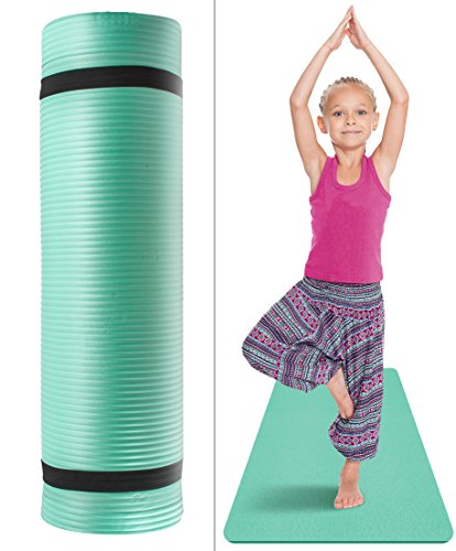 Price comparison product image Sivan Health and Fitness Kids Exercise Yoga Mat with Carry Strap - for, Yoga & Pilates, Great for Kid Athletes, Dancers, Gymnasts, Tummy Time etc, 1/2-Inch Extra Thick, NBR Comfort Foam (Teal)