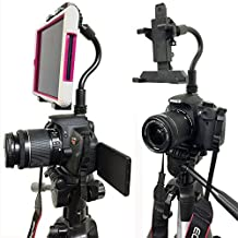 """ChargerCity Exclusive DSLR Hot Shoe Flash Camera Mount for Apple ipad Mini Retina (1st, 2nd & 3rd Generation) Samsung Galaxy Tab 2 3 4 5 Note Dell Venue Pro Toshiba Encore Lenovo IdeaTab Asus Memo Pad 6 7 8 inch Tablet w/360º Swivel Adjust Video recording 1/4""""-20 Bendy tripod Stick (8"""" Long) & Mini Tablet Holder (Expand up to 5.5"""" inches) *Use Both DSLR Camera & Selfie Record see yourself simultaneously*"""