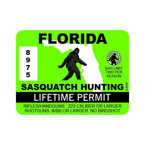 "RDW Florida Sasquatch Hunting Permit - Color Sticker - Decal - Die Cut - Size: 4.00"" x 3.00"""