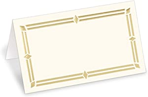 PaperDirect 38lb Cream Cover Stock Folded Place Cards with Gold Foil Border, Micro-Perforated, 2