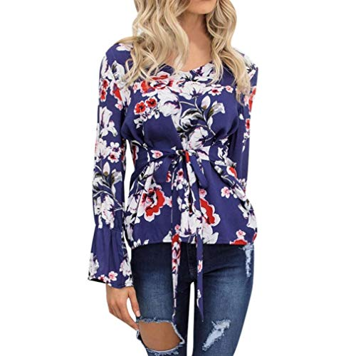 - FEITONG Womens Print Long Sleeve OL Shirt Casual Tie Tops Blouse