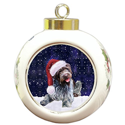 Griffon Ornaments (Let it Snow Christmas Holiday Wirehaired Pointing Griffon Dog Wearing Santa Hat Round Ball Ornament D251)
