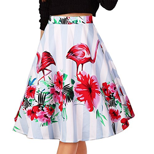 Musever Women's Pleated Vintage Skirts Floral Print Casual Midi Skirt Flamingo XL ()