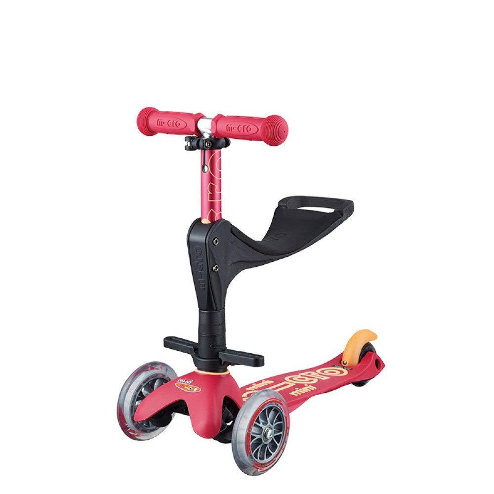 Scooter para Niños Scooter para Niños 3 Y 1 Versátiles con 3 Ruedas Scooter De Diseño Ajustable con Putter para 1-5 Años De Edad Triciclo De Automóvil,Red: ...