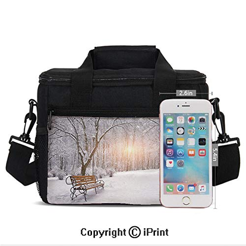 Woodland Nylon Parka - Insulated Lunch Bags For School With Bottle Holder Snow Covered Leafless Trees and Benches in the City Park Sunset Woodland Outdoors Decorative Kids Lunch Box Snacks Tote Lunch Containers 3D Print