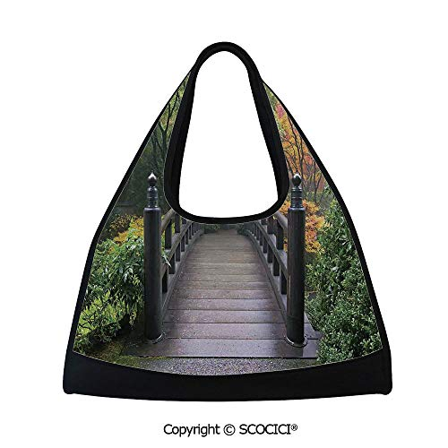 - Table tennis bag,Wooden Bridge at Portland Japanese Garden Oregon in Foggy Autumnal Morning Park,Sports and Fitness Essentials(18.5x6.7x20 in) Green Coral