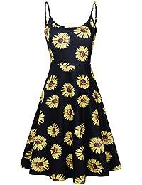 Women's Floral Print Beach Dress Adjustable Strappy Sleeveless Summer Swing Dress