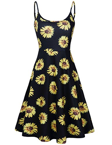 FANVOOK+Vacation+Dresses+for+Women%2CJuniors+Scoop+Neck+Fit+Flare+Daisy+Flowy+Print+DB+XXL