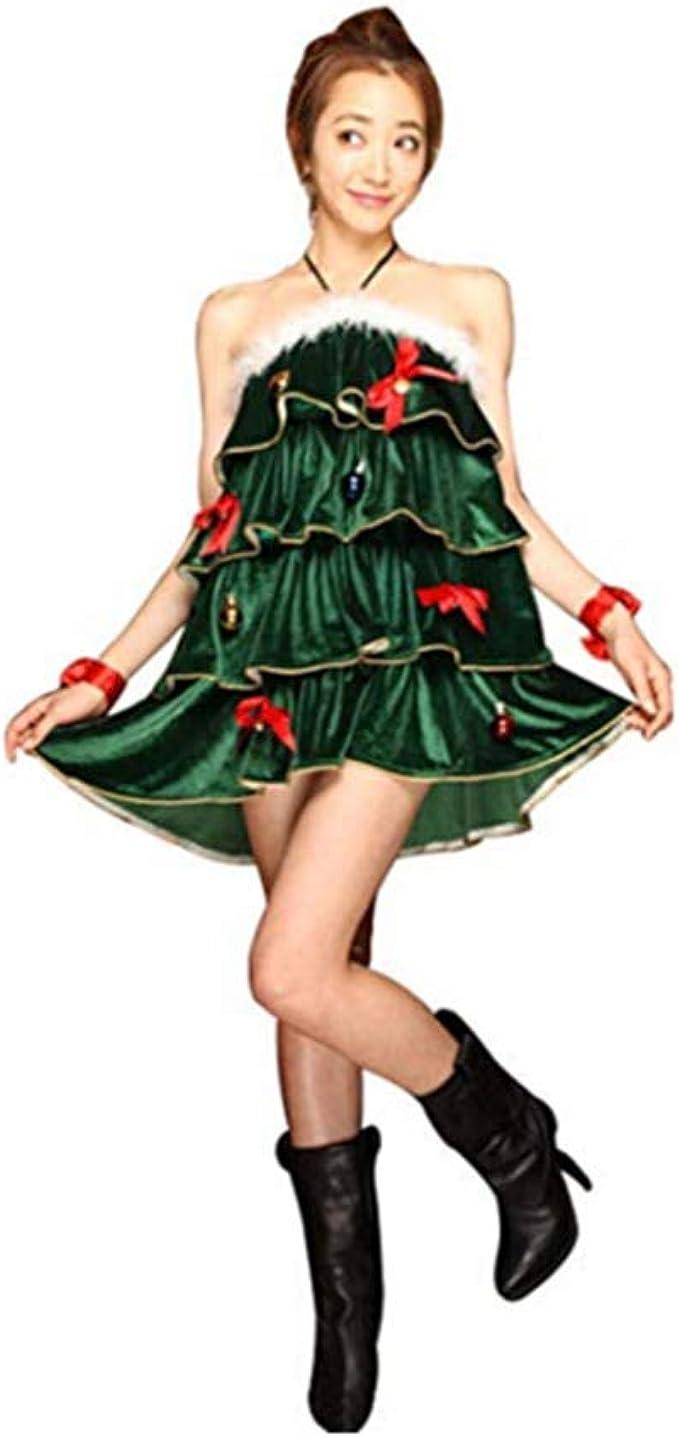 Disfraz de Cosplay de Arbol de Navidad para Mujer Vestido Halter ...