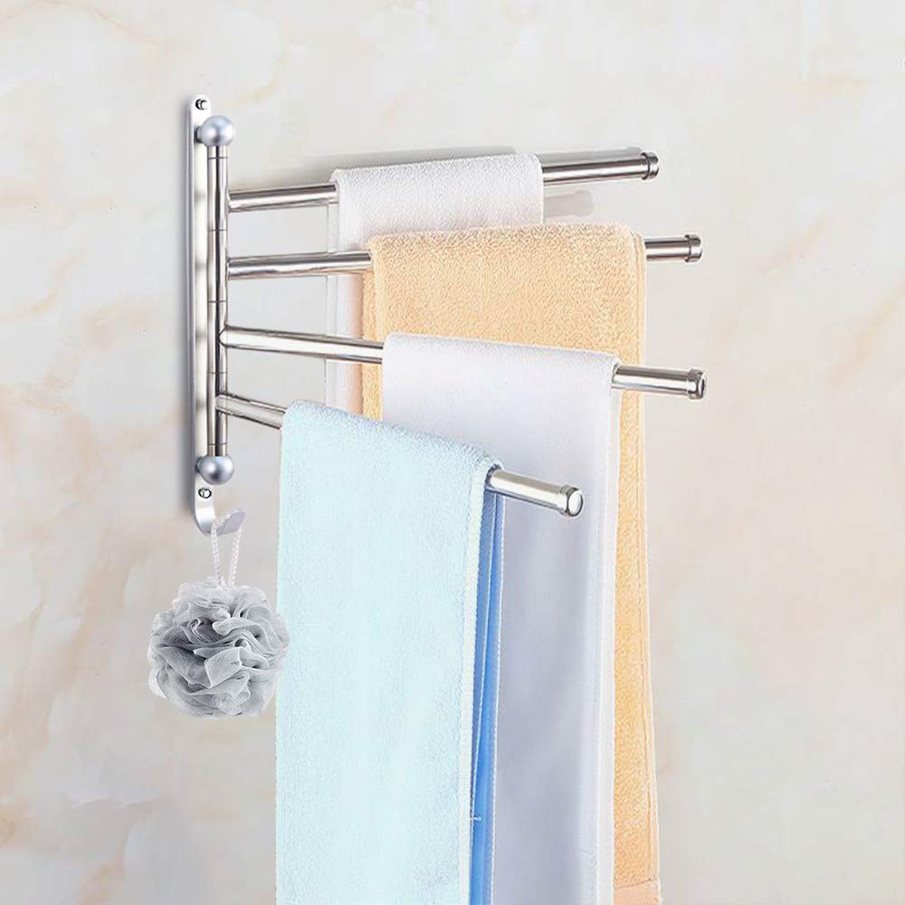 Elifeapply Swivel Towel Rack Stainless Steel Swing Out Towel Bar