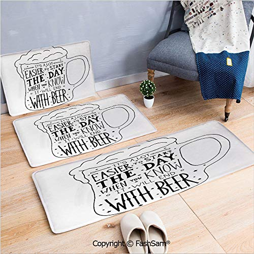 3 Piece Flannel Bath Carpet Non Slip Typographic Art with Humorous Quotation Beverage Pub Bar Glass Stars Front Door Mats Rugs for Home(W15.7xL23.6 by W19.6xL31.5 by W17.7xL53)