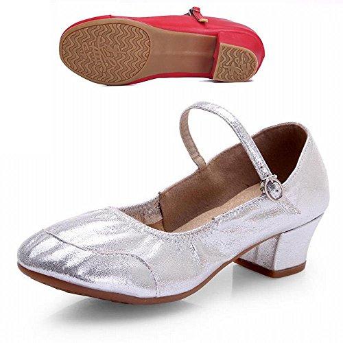 Plateado de Hasp de Samba de de Onecolor Hilo Zapato Baile Moderno Cuero los Modern Verano Zapatos Claro BYLE Sandalias Baile Tobillo Jazz Baile Net de Zapatos qfwgnqU5x