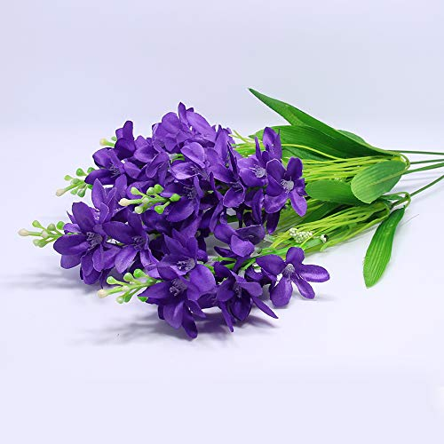 Nadalan Single Bunch of Artificial Flowers Hyacinth Real-Touch Silk Arrangement Bouquet Fake Flowers for Home Décor (Hyacinth-Purple)