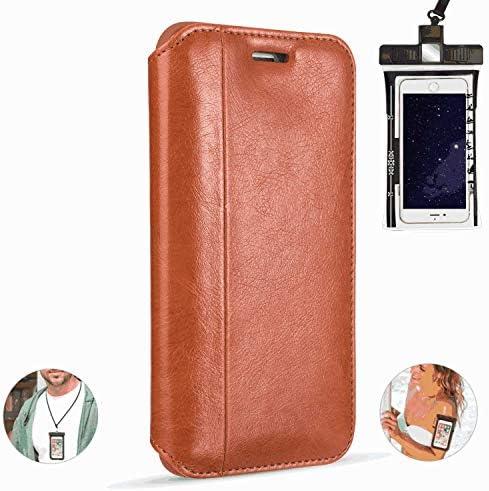 全面保護 手帳型 iPhone XR ケース 本革 レザー カバー 対応 耐摩擦 軽量 保護ケース スマートフォンケース [無料付防水ポーチケース]