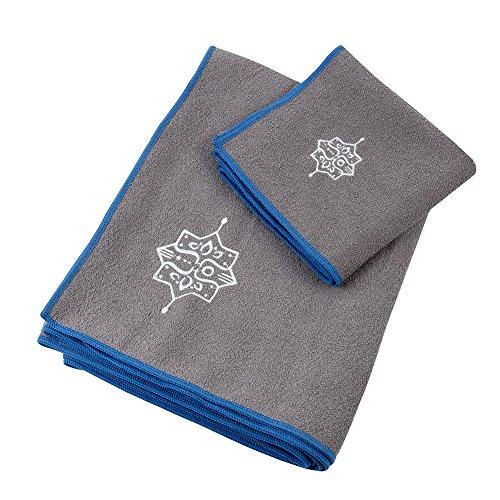 100% Microfiber Yoga Towel and Hand Towel Combo Set, Non-Slip and Machine Washable (Gray and Blue)