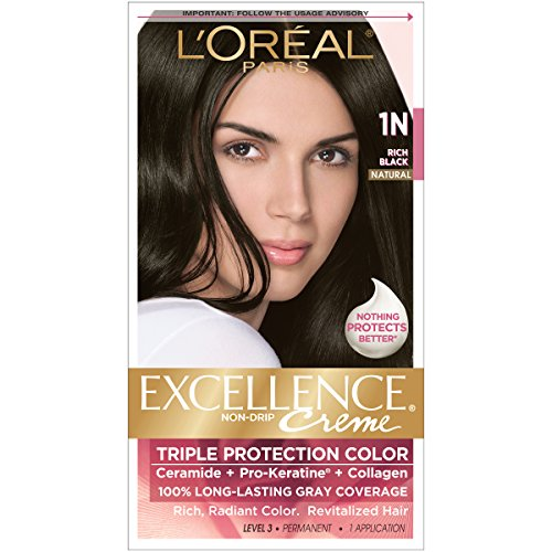 Hair Cosmetics Creme - L'Oreal Paris Excellence Creme, Rich Black 1N (Packaging may vary)