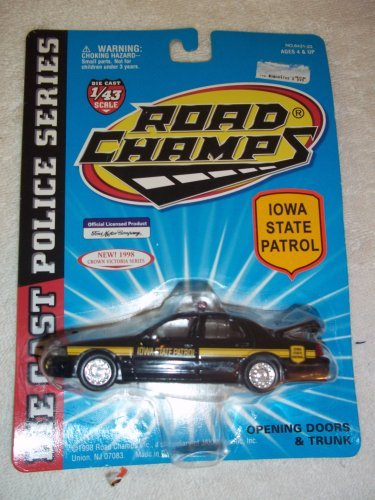 (IOWA STATE PATROL Road Champs 1998 Ford Crown Victoria Police Series Die Cast Car 1:43 Scale by Road Champs)