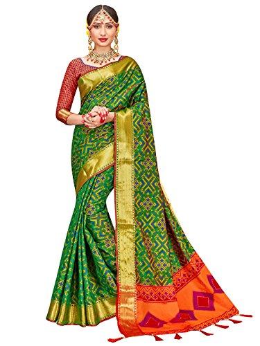 ELINA FASHION Sarees Women Patola Art Silk Woven Work Saree l Indian Bollywood Wedding Ethnic Sari Blouse Piece (Green ()