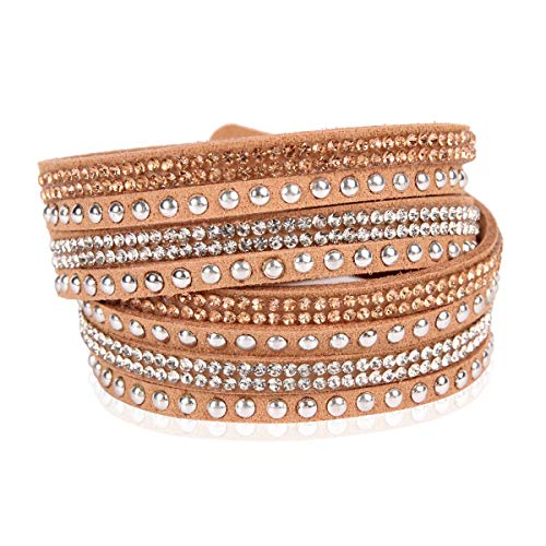 RIAH FASHION Bohemian Faux Suede Leather Wrap Multi Layer Bracelet - Boho Wrist Adjustable Cuff Bangle Crystal Rhinestone/Metallic Bead/Natural Stone Embellishment (Stud Mix - Brown/Rhodium) ()