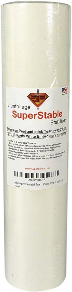 Adhesive Peel and Stick Tear Away Stabilizer White 2.0 oz 12 inch x 10 Yard Roll. SuperStable Embroidery Stabilizer Backing
