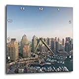 3dRose Danita Delimont - Cities - UAE, elevated view of Dubai Marina - 15x15 Wall Clock (dpp_277088_3)