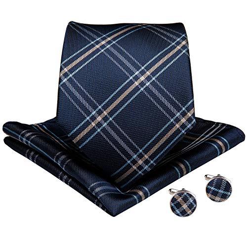 (DiBanGu Navy Blue and Brown Plaid Tie for Men Silk Tie Pocket Square Cufflinks Tie Clip Set Wedding Business)