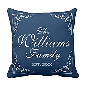 Personalized Family Throw Pillow : Amazon.com: Personalized family last name blue throw pillow case cover 22*22s: Home & Kitchen
