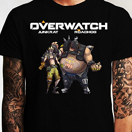 Overwatch Art Roadhog and Junkrat Graphic T-Shirt -  Slicksleek Apparel