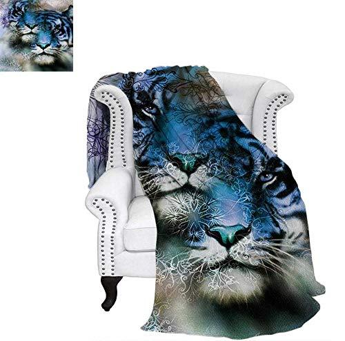 (Custom Design Cozy Flannel Blanket Two Tiger Safari Cat African Wild Furious Life Big Animals Artwork Print Weave Pattern Blanket 70
