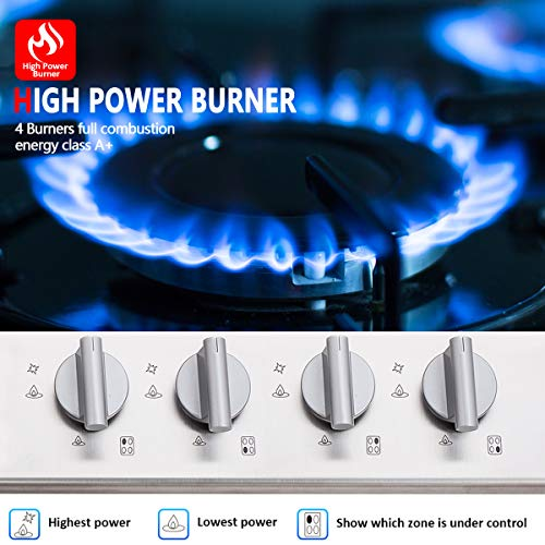 Gas Cooktop, GH60SSC 24'' Gas Stove Stainless Steel LPG Natural Gas Gas Stove 4 Sealed Safety Certified, Thermocouple Easy Clean