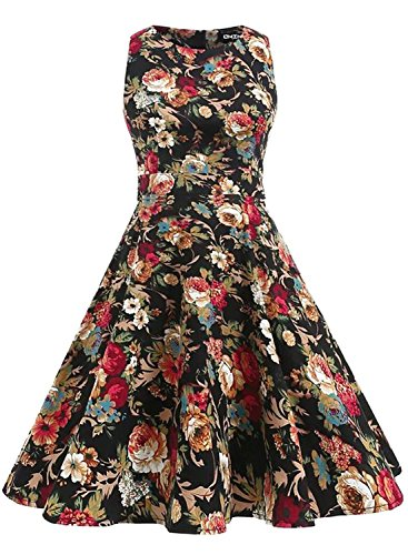 [OWIN Women's Vintage 1950's Floral Spring Garden Party Dress Party Cocktail Dress (S, Dark Apricot Floral)] (Dark Apricot)