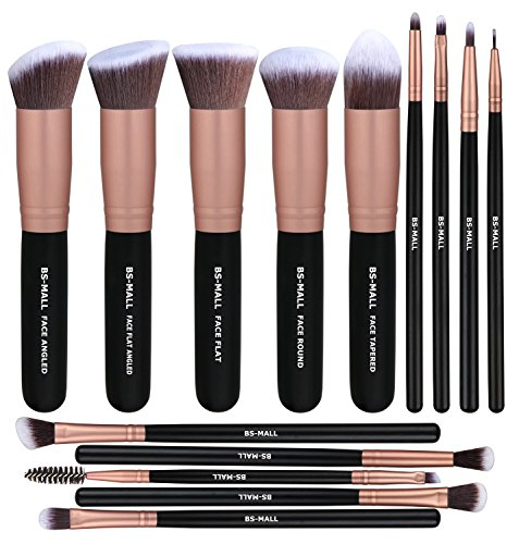 BS-MALL Premium Synthetic Foundation Powder Concealers Eye Shadows Silver Black Makeup Brush Sets, Rose Golden, 14 Pcs