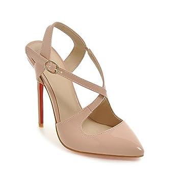 CAI Femmes Chaussures PU Printemps Été Confort Nouveauté Talons Talon Stiletto Dames Bout Pointu Pour Noce et Soirée Blanc, Noir, Beige (Couleur : Beige, Taille : 39)
