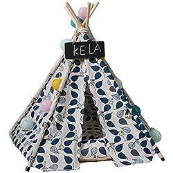 Bysoru Pet Teepie Perro Gato Conejos Cama Lona portátil casa Tienda de campaña con cojín, Azul, 60cm×60cm×70cm