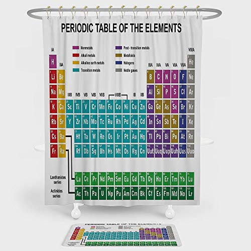 (Periodic Table Shower Curtain And Floor Mat Combination Set Educational Artwork for Classroom Science Lab Chemistry Club Camp Kids Print For decoration and daily use Multicolor)